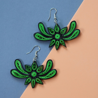 Quirky handmade eco earrings, doily, grass green and black outline (Dragonfly)