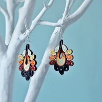 Autumn earrings, multicolour boho chic earrings, quilled earrings (Fall grapes)