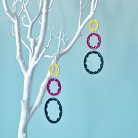 Modern dream catcher earrings, contemporary statement earrings, colourful design