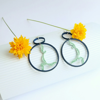 Minimalist statement earrings, multicolour circle with yogi figure (Yogic path)