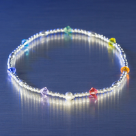 Sterling silver and Swarovski stretch bracelet in rainbow chakra colours