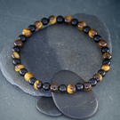 Tigers Eye and Onyx gemstone stretch bracelet design 1 of 3