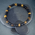Onyx and Tiger's Eye gemstone stretch bracelet design 2 of 3