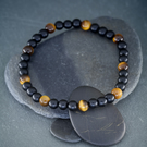 Gemstone Stretch Bracelet Tiger's Eye and Onyx design 3 of 3
