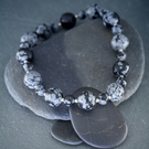 Snowflake Obsidian and Sterling Silver Stretch Bracelet