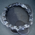 Larvikite and Hematite Stretch Bracelet for Men, Chunky Style