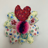 SPRING-SUMMER FABRIC HEARTS and BOBBLE HANGING DECORATION