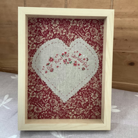 Hand embroidered, Our kind of wonderful framed embroidery art.