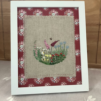 Hand embroidered country garden framed art.