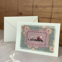 Hand embroidered Card for any occasion. Floral