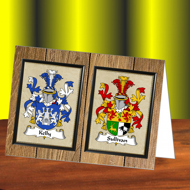 Dual coat of arms, Family crests, Greetings card, Engagement, Anniversary