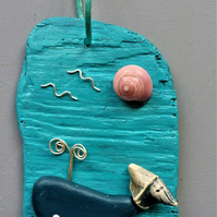 Decorative Blue Whale on Driftwood Door or Wall Hanger