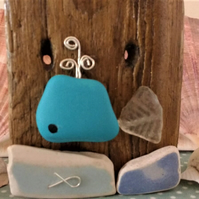 Nautical Decor Blue Whale on Driftwood Ornament
