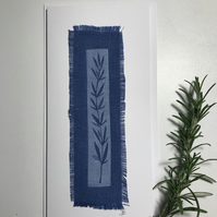 Rosemary lino cut on linen bookmark card