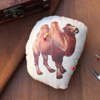 Bactrian Camel Welsh Tweed Magnetic Pin Cushion - Animal Plush Needle Minder