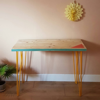 Reclaimed scaffold board desk, with a colourful design
