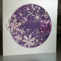Purple 50th Birthday Card
