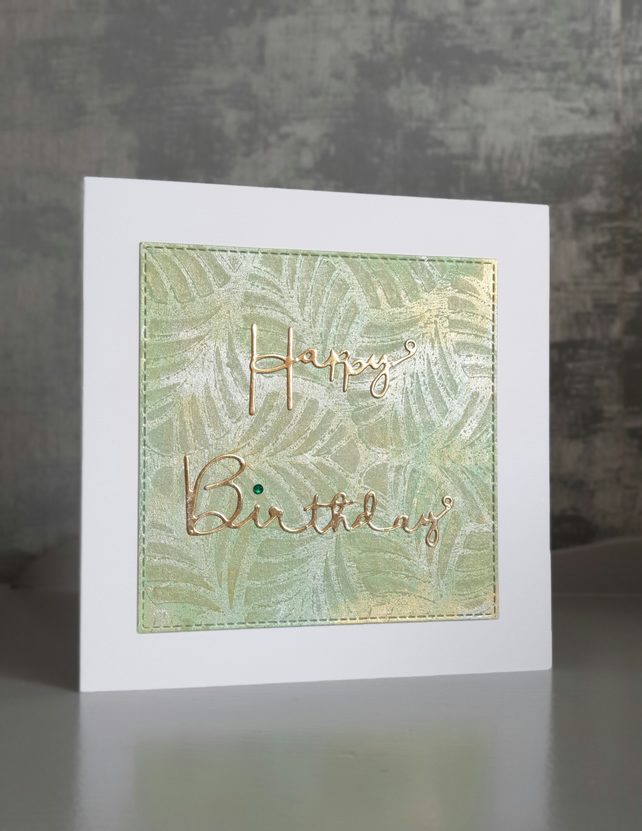 Green and Gold Birthday Card