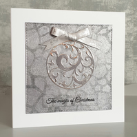 Silver Bauble Christmas Card
