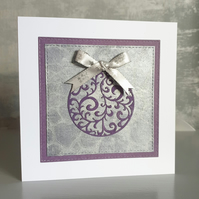 Purple Bauble Christmas Card