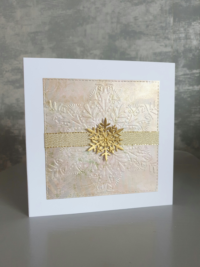Gold Snowflake Christmas Card