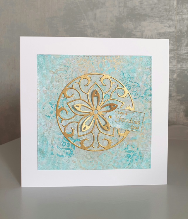 Aqua & Gold Birthday Card