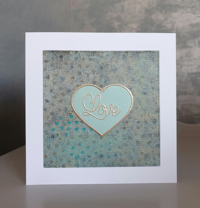 Teal & Gold Anniversary Card