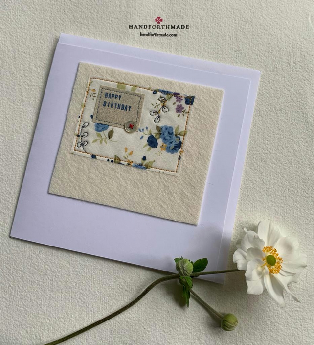 Floral Textile Birthday Card with freehand embroidery flowers and vintage button