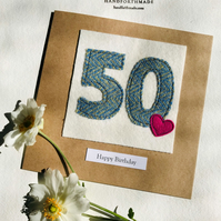 50th Birthday Card - 50 Age Card - Handmade Harris Tweed Card - Male or Female