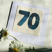 70th Birthday Card - Age 70 Card - Handmade Harris Tweed Card - Male or Female