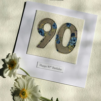 90th Birthday Card - 90 Age Card - Handmade Textile Card - Female Card