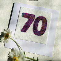 70th Birthday Card - Age 70 Card - Handmade Harris Tweed Card - Female Card
