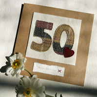 50th Birthday Card - Age 50 Card - Handmade Tweed Card - Milestone Birthday
