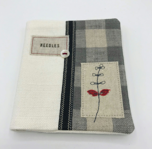 Sewing Needle Case - White & Grey Check Linen Needlecase, with vintage button