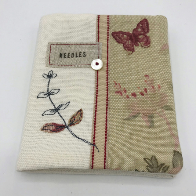 Sewing Needle Case - White Linen Needlecase, Butterfly Print  and Vintage Button