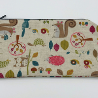 Pencil Case - Children's Linen Zipped Bag in Woodland Creatures Fabric