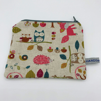 Purse - Children's Zipped Purse in Woodland Creatures Fabric - Owls - Hedgehogs
