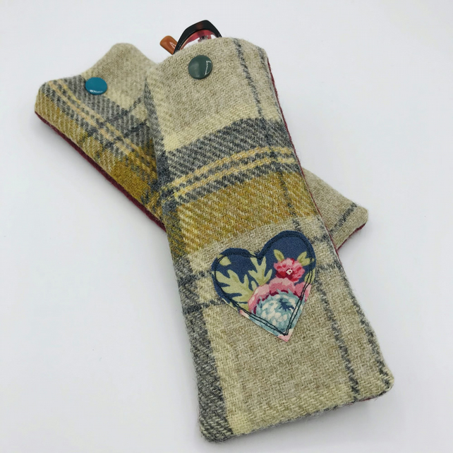 Glasses Case - Mustard and Grey Tweed - for glasses or sunglasses