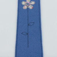 BOOKMARK - Iris Blue Woolfelt with Freehand Embroidered Pink Flower