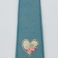 BOOKMARK - Handmade Powder Blue Woolfelt with Freehand Embroidered Heart