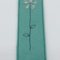 BOOKMARK - Handmade Duck Egg Woolfelt with Freehand Embroidered Flower