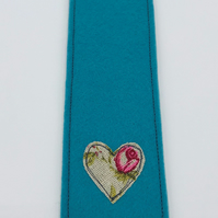 BOOKMARK - Handmade Peacock Blue Woolfelt with Freehand Embroidered Heart