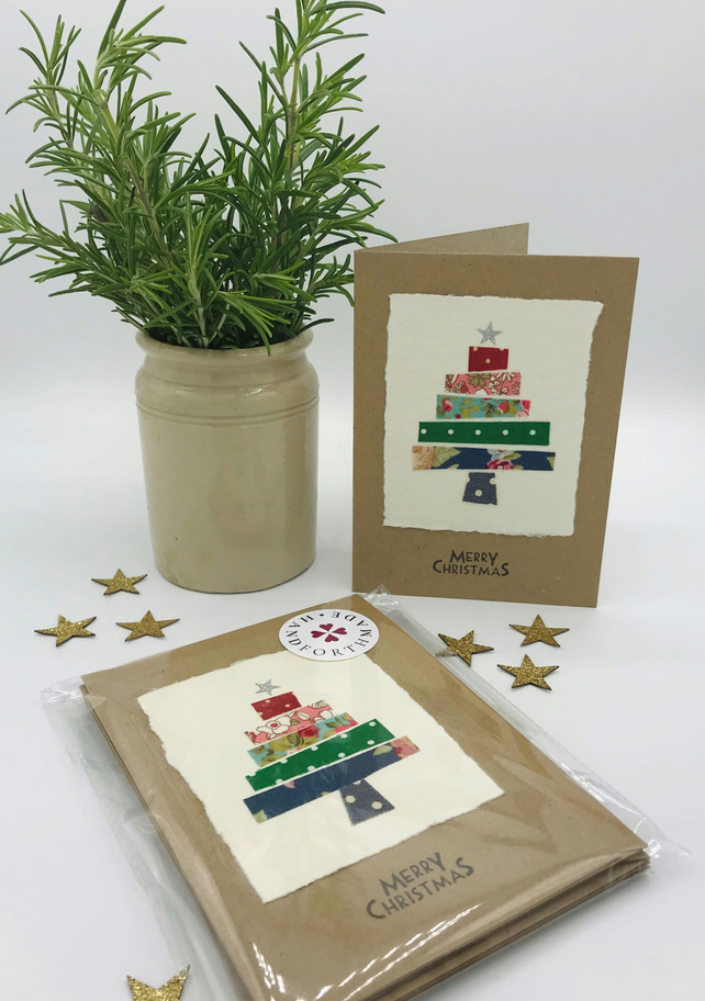 Christmas Card - Textile Christmas Tree Card - Pack of 5 - A6 Size