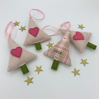 FIRST CHRISTMAS - BABY GIRL TREE DECORATION - Pink Linen - 2020 on Back