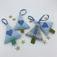 FIRST CHRISTMAS - BABY BOY TREE DECORATION - Blue Linen - 2020 on Back