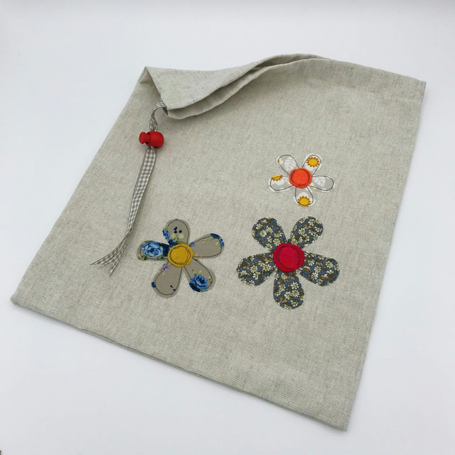 Drawstring Bag - Reuseable Bag - Cotton Drawstring Bag Decorated with Flowers