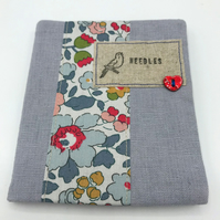 Sewing NeedleCase - Pale Grey Linen - Red Heart Button and Bird Needles Label