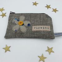Purse Grey Brown with Zip - Taupe Freehand Flower and Mustard Vintage Button