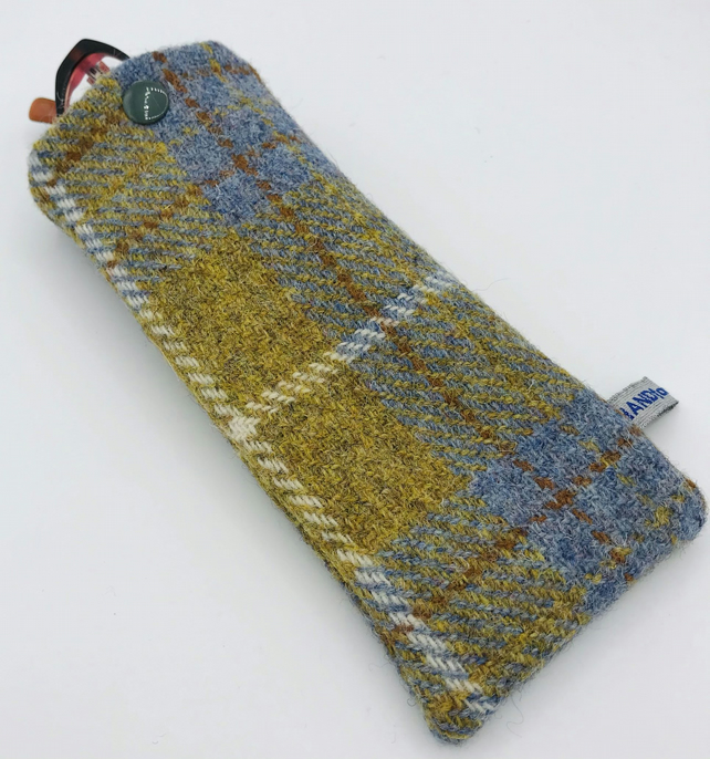 Glasses Case - Sunglasses Case - Mens - Pale Blue and Mustard Check Harris Tweed