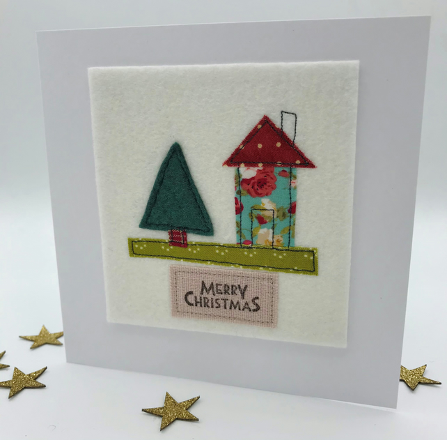Christmas Card - Textile House & Tree Card - Turquoise Floral & Red Spot Roof